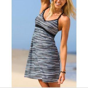 Athleta Grey Black Striped Padded Bra Swim Dress